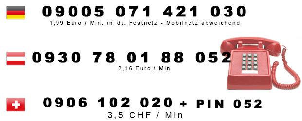 Ficken am Telefon - Nummern für Österreich, Deutschland u. Schweiz